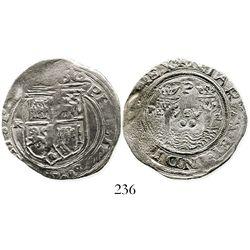 Lima, Peru, cob 2 reales, Philip II, assayer Rincon (rare first coinage of South America), denominat
