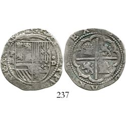 Lima, Peru, cob 2 reales, Philip II, assayer Diego de la Torre, ex-Research Collection WITH CATALOG