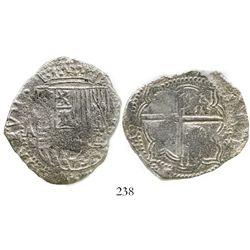 Potosi, Bolivia, cob 8 reales, Philip II, assayer A, Grade 2. S-P11; KM-5.1; CT-157. 20.9 grams. Ver