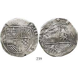 Potosi, Bolivia, cob 8 reales, Philip II, assayer B (5th pd, boxes borders), ex-Research Collection