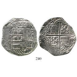 Potosi, Bolivia, cob 8 reales, Philip III, assayer Q, Grade 1. S-P17; KM-10; CT-124. 27.1 grams. Cor