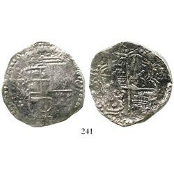 Potosi, Bolivia, cob 8 reales, Philip III, assayer M/Q, Grade 1. S-P18; KM-10; CT-unlisted. 26.8 gra