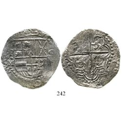 Potosi, Bolivia, cob 8 reales, Philip III, assayer M, Grade 1. KM-10. 24.6 grams. Choice bold strike