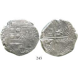 Potosi, Bolivia, cob 8 reales, (1618)PAL, rare, Grade 1. S-P20; KM-10; CT-130. 27.1 grams. Corrosion
