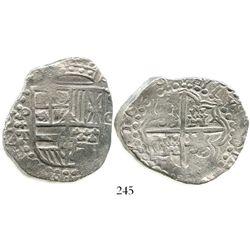 Potosi, Bolivia, cob 8 reales, 1619T, king's name in reverse legend, quadrants of cross transposed,