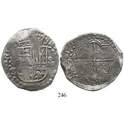 Potosi, Bolivia, cob 8 reales, 1620T, Grade 1. S-P21; KM-10; CT-137. 26.8 grams. Deeply toned and co