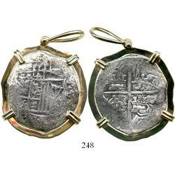 Potosi, Bolivia, cob 8 reales, Philip III, assayer T, upper half of shield transposed, Grade 1, moun