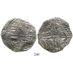 Potosi, Bolivia, cob 8 reales, Philip III, assayer T, quadrants of cross transposed, Grade 1. S-P21;