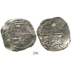 Potosi, Bolivia, cob 8 reales, Philip III, assayer T, Grade-1 quality but Grade 2 on the certificate