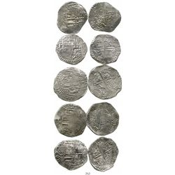 Lot of 5 Potosi, Bolivia, cob 8 reales, Philip III, various assayers (where visible), all Grade 1. K