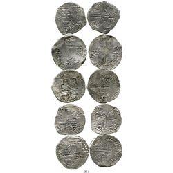 Lot of 5 Potosi, Bolivia, cob 8 reales, Philip III, various assayers (where visible), all Grade 1 ex