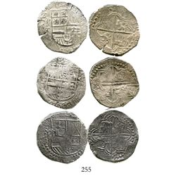 Lot of 3 Potosi, Bolivia, cob 8 reales, Philip III, assayer R (curved leg) and T, all Grade-1 qualit