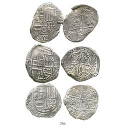 Lot of 3 Potosi, Bolivia, cob 8 reales, Philip III, assayer T or not visible, Grade 2. KM-10. 69.4 g