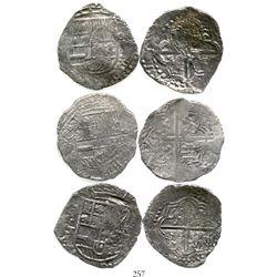Lot of 3 Potosi, Bolivia, cob 8 reales, Philip III, assayer T or not visible, Grade 2. KM-10. 69.1 g