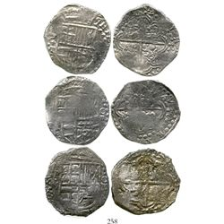 Lot of 3 Potosi, Bolivia, cob 8 reales, Philip III, assayers M and T, Grade 2. KM-10. 74.1 grams tot