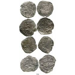 Lot of 4 Potosi, Bolivia, cob 8 reales, Philip III, assayers Q, M, T or not visible, Grade 2. KM-10.