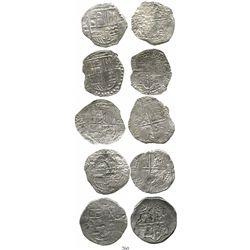 Lot of 5 Potosi, Bolivia, cob 8 reales, Philip III, various assayers (where visible), all Grade 2. K