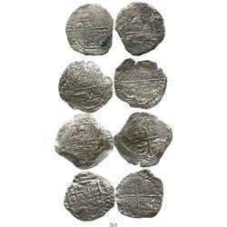 Lot of 4 Potosi, Bolivia, cob 8 reales, Philip III, assayers R, M or not visible, Grade 3. KM-10. 77