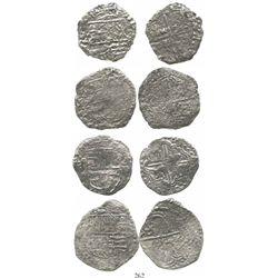Lot of 4 Potosi, Bolivia, cob 8 reales, Philip III, assayers not visible, Grade 3. KM-10. 69.6 grams