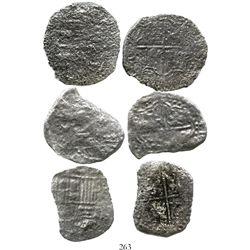 Lot of 3 Potosi, Bolivia, cob 8 reales, Philip III, assayers not visible, Grade 4. KM-10. 43.5 grams
