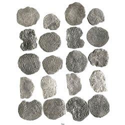 Lot of 10 Potosi, Bolivia, cob 8 reales, Philip III, various assayers (where visible), Grade 4 but s