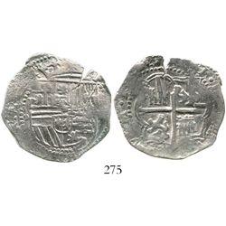 Potosi, Bolivia, cob 4 reales, Philip II, assayer B (3rd period), Grade 1. S-P10; KM-4.2; CT-342. 12