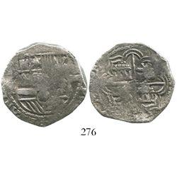 Potosi, Bolivia, cob 4 reales, Philip II, assayer B (5th period), borders of x's, Grade 1. S-P14; KM
