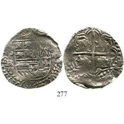Potosi, Bolivia, cob 4 reales, Philip III, assayer RL (curved leg), Grade 1. S-P15; KM-9; CT-244. 12