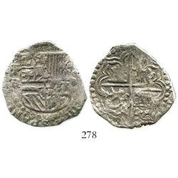 Potosi, Bolivia, cob 4 reales, Philip III, assayer RL (curved leg), Grade 1. S-P15; KM-9; CT-244. 13