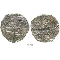 Potosi, Bolivia, cob 4 reales, Philip III, assayer Q, Grade 1. S-P17; KM-9; CT-243. 12.0 grams. Soli