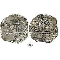 Potosi, Bolivia, cob 4 reales, (16)17(M), Grade 2 (estimated). S-P19; KM-9; CT-245. 11.6 grams. Crud