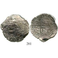Potosi, Bolivia, cob 4 reales, (1)618PAL, very rare, Grade 1. S-P20; KM-9. 13.5 grams. Full and bold