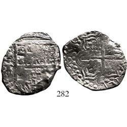 Potosi, Bolivia, cob 4 reales, Philip III, assayer T, Grade 2. S-P21; KM-9. 11.0 grams. Overly shiny