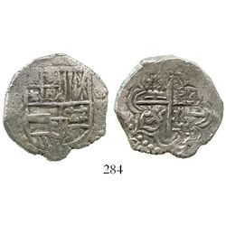 Potosi, Bolivia, cob 4 reales, Philip III, assayer not visible, Grade 1. KM-9. 13.1 grams. Very bold