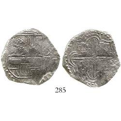 Potosi, Bolivia, cob 4 reales, Philip III, assayer not visible, Grade 1. KM-9. 12.0 grams. Full shie