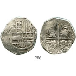 Potosi, Bolivia, cob 4 reales, Philip III, assayer not visible, Grade-1 quality but Grade 3 on the c