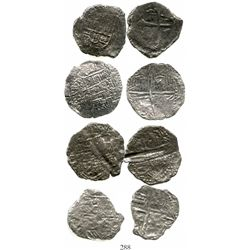Lot of 4 silver cob 4R (one Mexico and three Potosi), Philip III, assayers not visible, Grades 3 and