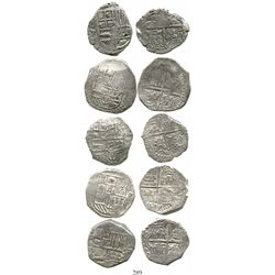 Lot of 5 Potosi, Bolivia, cob 4 reales, Philip III, various assayers (where visible), all Grade 1. K