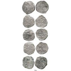Lot of 5 Potosi, Bolivia, cob 4 reales, Philip III, assayers M or not visible, Grade 2. KM-9. 61.3 g