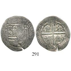 """Potosi, Bolivia, cob 2 reales, Philip II, assayer B (1st period, """"Lima style""""), Grade 1. S-P4; KM-3."""