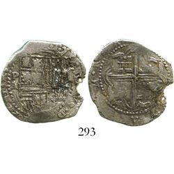 Potosi, Bolivia, cob 2 reales, Philip II, assayer A, Grade-1 quality but Grade 2 on the certificate.