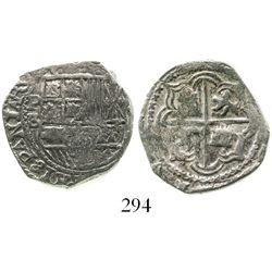 Potosi, Bolivia, cob 2 reales, Philip II, assayer B (5th period), borders of x's, Grade 1. S-P14; KM