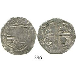 Potosi, Bolivia, cob 2 reales, Philip III, assayer RL (curved leg), Grade-1 quality but Grade 2 on t