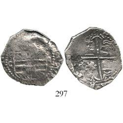 Potosi, Bolivia, cob 2 reales, Philip III, assayer C, rare, Grade 2. S-P16; KM-8. 4.6 grams. Thin fr