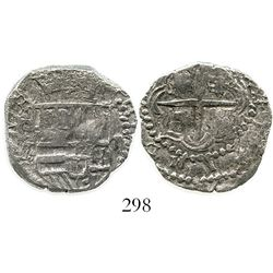 Potosi, Bolivia, cob 2 reales, Philip III, assayer M, Grade 2+.  KM-8. 6.5 grams. Full shield with c