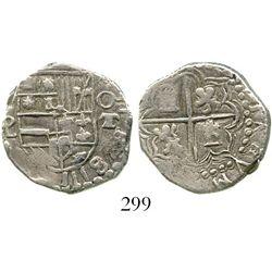 Potosi, Bolivia, cob 2 reales, (1618), assayers PAL to left and T to right, very rare, choice Grade