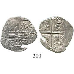 Potosi, Bolivia, cob 2 reales, Philip III, assayer not visible (style of 1618), Grade 1. KM-8. 6.5 g
