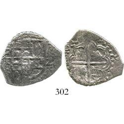 Potosi, Bolivia, cob 2 reales, Philip III, assayer T, Grade 1. S-P21; KM-8. 6.0 grams. Oblong flan w