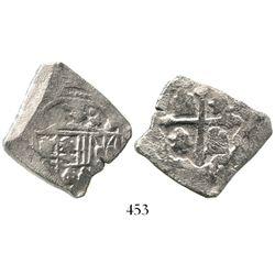 Mexico City, Mexico, cob 4 reales, Philip V, assayer not visible (J). S-M22; KM-40. 12.0 grams. Silv