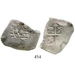 Mexico City, Mexico, cob 4 reales, Philip V, assayer not visible (J). S-M22; KM-40. 9.8 grams. Good